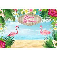 mavi çiçekli ağaç toptan satış-Özelleştirilmiş Pembe Flamingo Doğum Günü Partisi Zemin Baskılı Yeşil Palmiye Ağacı Yaprakları Çiçekler Mavi Gökyüzü Sahil Plaj Fotoğraf Arka Plan