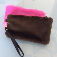 Wholesale Woollen Dresses - Faux fur woollen women casual clutch bag fashion 2017 new mini woman zipper plush mobile phone bags leisure lady wistiti clutch