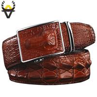 ingrosso pelle vera pelle-Moda Cinture da uomo Luxury Genuine Leather Crocodile designer Cintura automatica fibbia uomo Vera pelle bovina Cintura ampia per Jeans uomo
