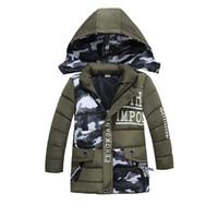 uzun parka oğlan toptan satış-Kış Ceket Boys Kapşonlu Palto Kamuflaj Çocuk Kalın Pamuk Yastıklı Ceketler Uzun Sıcak Parka Boys Coat
