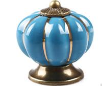 maçanetas venda por atacado-2dr Rainbow Ceramics Door Handles Abóbora Dos Desenhos Animados Maçanetas Para Gaveta Do Armário Rural Pull Handle Modern Simples Direto Da Fábrica de Vendas
