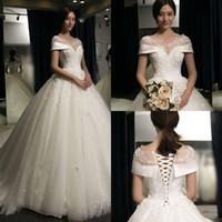 igreja de vestido de casamento curto venda por atacado-Lindo Branco Sparkly Vestido de Baile Puffy Wedding Dresses 2018 Mangas Curtas Formal Lace-up Back Igreja Vestidos de Noiva