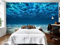 Wholesale painting sea ocean resale online - Charming Deep sea Photo Wallpaper Custom Ocean Scenery wallpaper Large Mural Silk Wall painting Kids Bedroom Art Room Decor Home Decoration