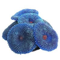 decoraciones de acuario de silicona al por mayor-Decoración Acuario Artificial Resina Coral Sea Plant Ornamento Silicona Azul no tóxico
