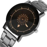 modelos de relógio feminino venda por atacado-KEVIN Rodada Círculos Design Mãos Relógio de Quartzo Homens Casuais Mulheres Vestido de Aço Inoxidável Hour Clock Presentes Masculino