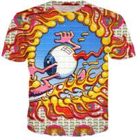 знаменитая дизайнерская одежда оптовых-2018 Fashion Acid Eyeball T Shirt Hip Hop Clothing Harajuku  Men Designer 3D Printed Funny T Shirt Top Tees