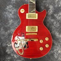 Wholesale guitar standard red for sale - factory directCustom Shop Red Flame Top Carved Cobalt Abalone Inlays Fretboard Standard Electric Guitar guitars guitarra