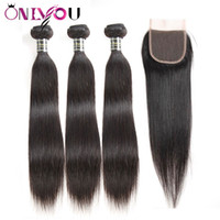 Wholesale straight peruvian 4x4 closure for sale - Group buy Peruvian Straight Human Hair Extensions Bundles with x4 Free Part Lace Closure Remy Hair Cheap Brazilian Virgin Hair Wefts with Closure