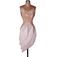 Wholesale Tassel Costume - Women Latin Dance Dress with Shinning Rhinestones Pearl Beads CADL017 Latin Dance Costumes Women 2 Colors Salsa Dress