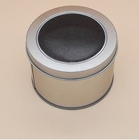 Wholesale Storage Tin Lid - Round Tin Box With Transparent PVC Window Lid & Sponge Plain Silver Metal Can Storage Case For Watch Small Things wen5507