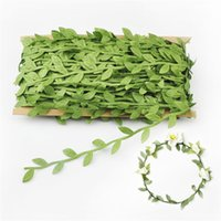 Wholesale floor mirrors - 40M Lot Artificial Green Leaf Garland Cloth Quality Decorate Accessories For Party Simulation Rattan Decorative Wreath Fake Flower 9 9ms WW