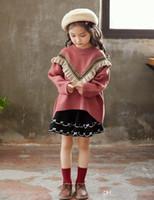 suéter de manga murciélago de las niñas al por mayor-Nuevo Otoño Baby Girls Jersey de punto Vintage Kids Bat-wing Manga Volantes Loose Pullovers Niño prendas de punto suéteres 4215