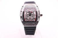 красные мужские часы высокого качества оптовых-BOYUHENG 052 высокое качество черный / серебряный череп циферблат мужской черный резиновый черный/красный / белый круг серебряный стальной корпус кварцевые часы с бриллиантами