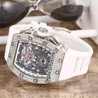 ingrosso grandi orologi a lunetta-Nuovo RM011 RM11 Flyback Chrono Diamond Bezel cassa in acciaio nero quadrante scheletro grande data automatico Mens Watch in gomma bianca orologi sportivi 13b2