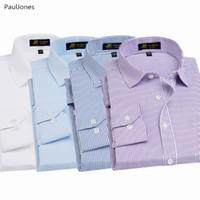 черные хлопковые рубашки china оптовых-Autumn  Quality Long Sleeve Men Dress Shirts Cotton White Black Classic Social Business Shirt Male China Blouse PaulJones