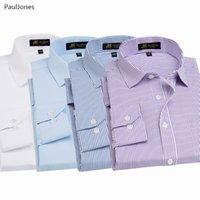 ingrosso cotone nero cotone camicie-Manica lunga autunno qualità del vestito uomini camicie di cotone bianco nero classico Social Business shirt Maschio Cina Camicetta PaulJones
