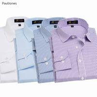 uzun bluzlar çin toptan satış-Sonbahar Lüks Kalite Uzun Kollu Erkek Gömlekler Pamuk Beyaz Siyah Klasik Sosyal Iş Gömlek Erkek Çin Bluz PaulJones