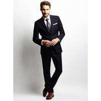 ingrosso miscela in lana di tuxedo nero-Custom Made Wool Blended Black 2Pcs Occasioni formali Abiti uomo Custom Made Smoking dello sposo Smoking Suit (Jacket + Pants) W306