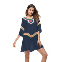 Wholesale embroidery mini dress design - Embroidery Dress Summer O-Neck Half Sleeves Sundress Rash Guards Skin Clothes Beach Boho Design Wear For Holiday