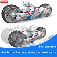 Atacado-KAINISI DIY Electronic Building Block Self Assembly Motocicleta Brine Battery Education Smart Boy Gift Puzzle Toy Model