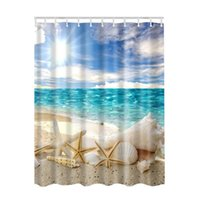 photos salle de bains achat en gros de-Paysage marin mer plage image imprimer décor océan collection salle de bain ensemble tissu rideau de douche avec des crochets