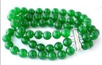 Wholesale natural green clay resale online - Natural mm Round Green Gemstone Beads Bracelets quot Rows