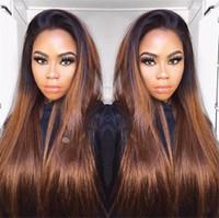 beste jungfrau-perücken großhandel-Silk Straight T # 1B 30 Ombre Perücke mit Baby Hairs Beste Brasilianische Full Lace Perücken Mittelteil Virgin Human Hair Lace Front Perücken