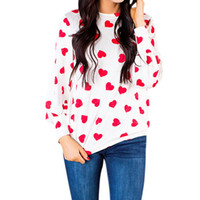 Wholesale lovely tracks for sale - Group buy Cute Print Cute Heart Lovely Shirt Bouse Round Neck Long Sleeve Track Blouses Harajuku Shirts Blusa Spring WS5949U