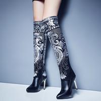 zapatos populares de las mujeres al por mayor-Mujer Otoño Dedicar Folk Multi Floral Bordado Lentejuelas Rodilla Botas Altas Sexy Tacones Altos Invierno Flor Knight Botas Zapatos