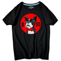 Wholesale black dog cartoon - Casual Men's short sleeve O-Neck Cartoon Dog Printed large size T Shirts Summer High Quality Hipster tee shirts