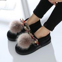 calçado grosso calçado confortável venda por atacado-Feminino outono inverno casa quente de espessura inferior algodão sapatos interior lindo saco de salto botas de lã, confortável e leve.