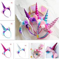 Wholesale adult headbands flowers resale online - Halloween Unicorn Headband For Kids Children Adult Flower Hairwear Party Cosplay Costume Hair Accessories Ear Hair Sticks DHL Ship HH7