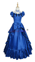 Wholesale southern belle dress xl online - Victorian Southern Belle Ball Gown Reenactment Halloween Blue Lolita Dress cosplay Costume H008