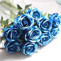 Wholesale Home Decor Silk Flower Arrangements - Artificial Flower Bouquet for Wedding French Rose Fake Flower Arrangement Floral Silk Flower for Home Party Table Decor