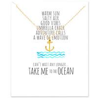 ingrosso collana di choker dell'ancoraggio-Girocollo Dogeared Collane in oro argento con pendente a forma di carta per gioielli donna di moda Anchor Pirate Ocean Series