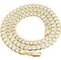 18-каратное твердое желтое золото оптовых-Реальные 10 K желтое золото твердых заполнить Алмаз вырезать кубинский звено цепи 7.25 мм ожерелье 24