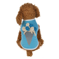 Wholesale round t shirt male resale online - Sweet Canister Dog Apparel Wear Summer T Shirts Cute Pet Supplies Clothes Small Leisure Vests Polyester Cotton dl jj