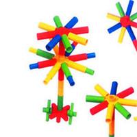 Wholesale flowers puzzle - Pipe Shape Building Blocks Baby Puzzle Desktop Toys Kindergarten Plastic Flowers Design Block For Kids Education Props Free Shipping 4 8tb Z
