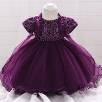 yeni doğmuş elbiseler toptan satış-Mor Toddler Kız Vaftiz Yeni Doğan Bebek Kız Noel Bebek Prenses Kızlar Için Elbiseler Pelerin İnci Parti Elbise Bebek
