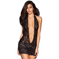 transparent lace erotic lingerie toptan satış-Derin V Boyun Halter Dantel Babydoll Seksi Erotik Artı Boyutu Şeffaf Backless Sexy Lingerie Kadınlar Sıcak Erotik Seks Elbise S927