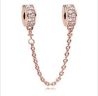 Wholesale gold stopper bracelet - Fit Sterling Silver Bracelet Anti Dropping Safety Chain Gold Crystal European Stopper Clip Lock Charm Fits pandora Bracelet jewelry findings