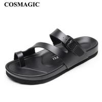 ingrosso scarpe in pelle clog-Ciabatte Slide Slide COSMAGIC 2018 New Summer Beach Donna Casual Cuoio Nero Zoccoli Infradito Calzature Scivoli