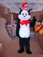 Wholesale Cat Suit Halloween Costumes - 2018 High quality Cheap Adult Cat in the Hat Mascot Costume Halloween Costumes Fancy Dress Suit Birthday Party character Costume