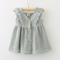 88b29b82665 2019 INS Baby Girl Lace Princess dress Toddler V-neck Buttons Petals sleeve  dress Middle little girl dress Cute 2T 3T 4T 5T 6T 7T