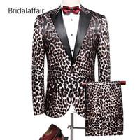 стильные мужские смокинги оптовых-KUSON Stylish Mens Suits Fashion Party Prom Wedding Tuxedos For Men Leopard-print Men Suit Blazer With Pants 2 Pieces Set 2018