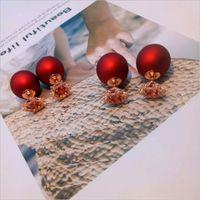 Wholesale Double Heart Silver Earrings - Korean fashion S925 sterling silver Christmas snowflake pearl double-sided earrings female models simple pearl earrings female models