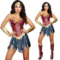 ingrosso copricapo costume-Set costume da eroina Vendita calda Abiti Vestito di pelle Copricapo Set di protezioni Femme Costumi di Halloween