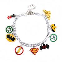 Wholesale wonder woman wholesale - Superman Wonder Woman Batman The Flash Green Lantern Charm Bracelet Wristband Chains Fashion Jewelry for Women Gift DROP SHIP 320011