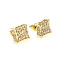 aretes de oro al por mayor-Nueva Llegada Mens Cubic Zirconia Diamante Earings Moda Hombres Joyería Hip Hop Cobre Oro Blanco Lleno de Cristal Stud Pendiente Joyería KKA1793