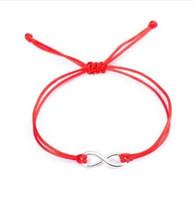 ingrosso braccialetto rosso infinito-10 pz / lotto 8 Infinity simbolo Braid Bracciali Intrecciati Corda Braccialetto Rosso Gioielli fortunati